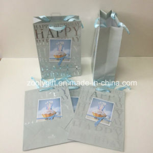 Wholesales Slivery Hot Stamping Happy Birthday Paper Gift Bag pictures & photos