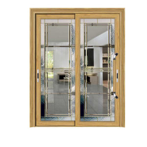 Wood Grain Aluminum Sliding Door with Blinds pictures & photos