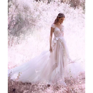 Lace Bridal Gown Sleeveless Beach Garden Traveling Wedding Dress H201725 pictures & photos
