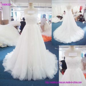 160632 Popular Design Sweetheart Neckline Strapless Bodice and Backless A Line Wedding Dress with Lace Throughout The Dress pictures & photos