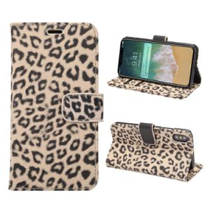 Leopard Print PU Leather Flip Cover for iPhone 8 Stand Case pictures & photos