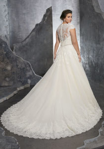 Cap Sleeves Bridal Gowns A-Line Beads Plus Size Wedding Dresses S1506 pictures & photos