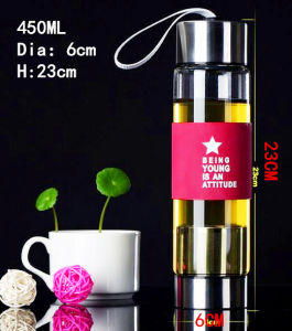 Colorful 450ml Portable Glass Bottle Glass Water Bottle pictures & photos
