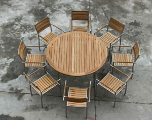 Outdoor Garden Dining Restaurant Use Garde a 35′′d Burma Teak Round Table Top pictures & photos