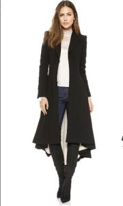 Fashion Turn-Down Collar Slim X-Long Trench Coat Winter Woollen Coat Women Overcoat Dovetail Plus Size Brand New 2015 Haoduoyi pictures & photos