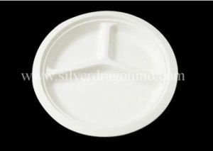 Biodegradable Disposable Sugarcane Bagasse Paper Plate, 9 Inch Three Compartments pictures & photos