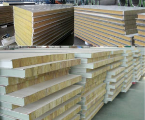 Fire Retardant Hdp/PE/PVDF Coating Thermal Insulation Glass/Rock Wool Sandwich Panel pictures & photos