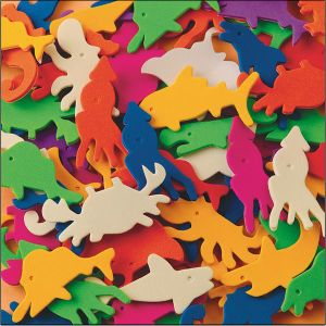 1/2 Lb Foam Sealife Shps with Adhesive Toy (AC754)
