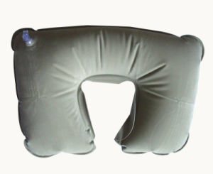 Promotion U Shape Flocked Inflatable Travel Neck Pillow pictures & photos