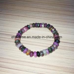 Semi Precious Stone Tourmaline Roundel Beaded Crystal Bracelet pictures & photos