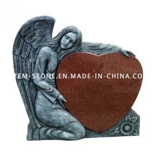 Grey Angel Carving Granite Stone Memorial Monument with Red Heart pictures & photos