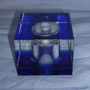 Blue Crystal Glass Cube