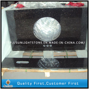 Custom Polished Black Galaxy Granite Kitchen Countertops, Vanity Tops pictures & photos