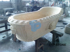 Yellow Marble Bathtub for Bathroom pictures & photos