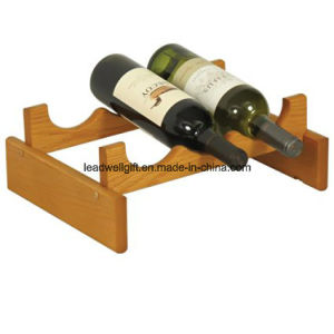 Eco-Friendly Wooden Mallet 3-Bottle UV Coating Wine Holder pictures & photos