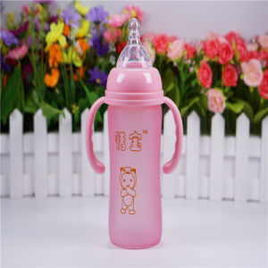 240ml Thermal Silica Gel Baby Glass Bottle with Handle pictures & photos