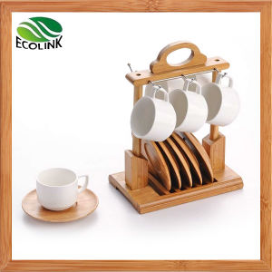 Ceramic Coffee Cup with Bamboo Coaster Set pictures & photos