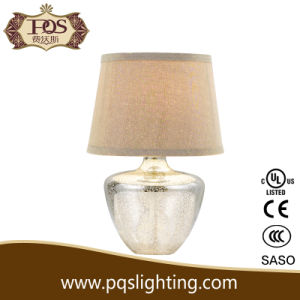 Fabric Lamp Shade American Silver Glass Table Lamp