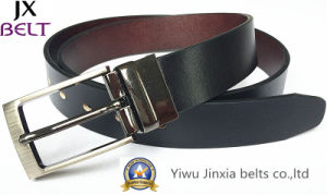 Man′s Black Reversible Split Leather Belt