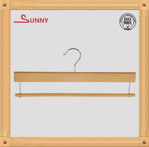 Wooden Pants Hanger with Round Bar