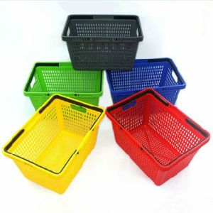 Supermarket Plastic Shopping Basket with 100% Virgin Hdpp Material (YD-M33) pictures & photos
