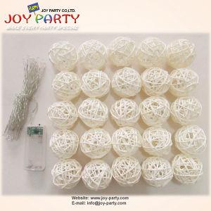 White Rattan Ball 20 Tips LED String Light Decoration