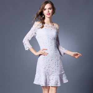 Spring Summer Slim Fashion Word Shoulder Lace Long Sleeves Short Lady′s Dress pictures & photos