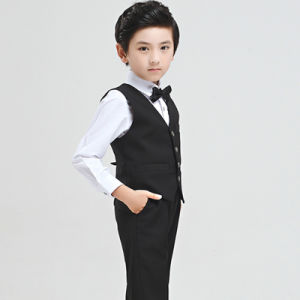 Boy Slim Fit Black Formal Tuxedo Waistcoat for Party Wear pictures & photos