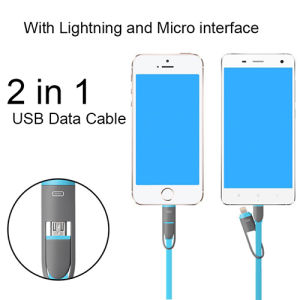 2 in 1 Data Cable Charging Hanging Blue Line for Android & iPhone pictures & photos
