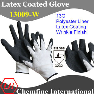 13G White Polyester Knitted Glove with Black Latex Wrinkle Coating/ En388: 3232 pictures & photos