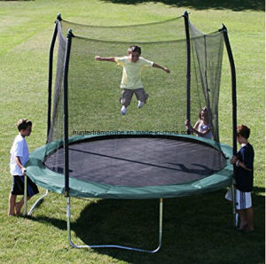 10FT Green Round Trampoline with 4 Legs and Safety Enclosure Net pictures & photos