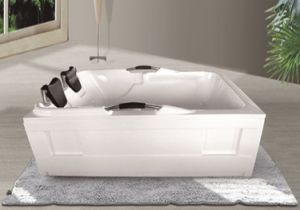 Freestanding Double Acrylic Bathtubs with Pillow and Faucets pictures & photos