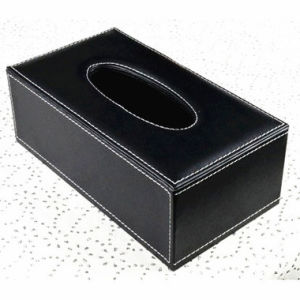 Wood Leather Tissue Box Facial Paper Tissue Box Car Tissue Tin Box (Hx06) pictures & photos