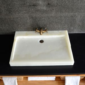 Solid Stone White Onyx Vessel Sinks for Bathroom pictures & photos