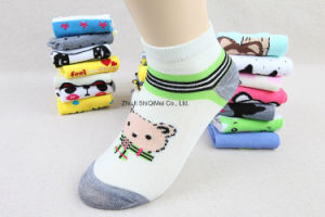 Factory Supplier Customize Cheaper Polyester Cotton Cute Cartoon Ankle Boat Socks pictures & photos