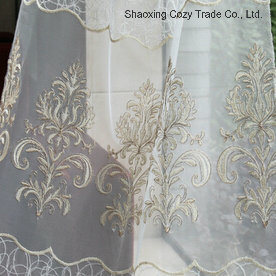 Fashion Design Golden Rope Embroidery Style on Voile pictures & photos
