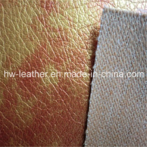 Two Tone Lychee Design Tc Backing PU Leather for Sofa Furniture Hw-642 pictures & photos