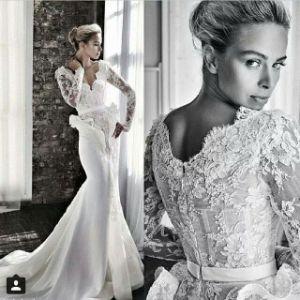 Hot Sale White V Neck Lace Column with Sweep Train V Back Designer Wedding Dresses (MQ1006)