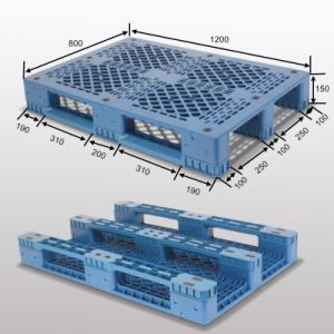 L1200*W800*H150mm Plastic Pallets; 3 Runners; with Steel Tubes Reinforced pictures & photos