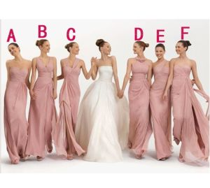 Full Length Chiffon Bridesmaid Dress Pink Bridal Prom Dresses B6412 pictures & photos