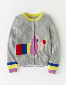 Kid′s Cardigan Intarsia Effect Ture Knitted Cardigan for Girls pictures & photos