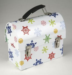 Lunch Tin Box with Domed Lid and Snowflake pictures & photos