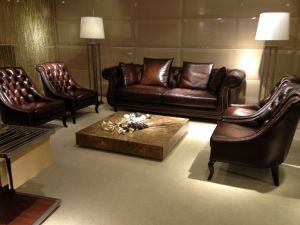 Top Quality Brown Color Leather Chesterfield Sofa pictures & photos
