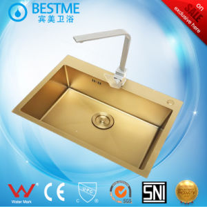 Single Bowl Hand Make Kitchen Sink Gold Color pictures & photos