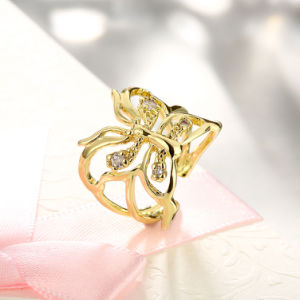 Gold Plated Cubic Zirconia Butterfly Ring Artificial Jewelry pictures & photos