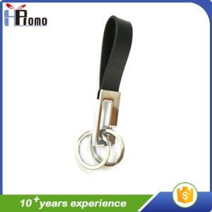 Cheap Custom Double Rings Leather Key Chain pictures & photos