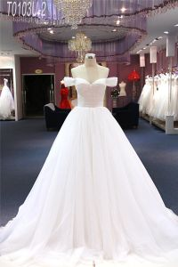 off Shoulder Tulle Bridal Ball Wedding Dress pictures & photos