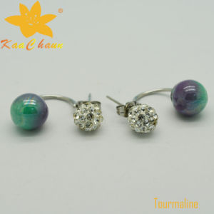 Tmer-003 Green Color 10mm Tourmaline with crystal Drop Earrings pictures & photos