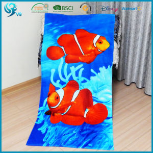 75X150cm 100% Cotton Velour Reactive Printed Custom Cartoon Beach Towel pictures & photos