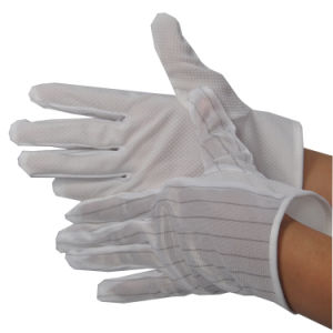 ESD Stripped PVC Dotted Cleanroom Working Gloves pictures & photos